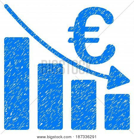 Grunge Euro Recession Bar Chart icon with grunge design and dirty texture. Unclean vector blue pictogram for rubber seal stamp imitations and watermarks. Draft sign symbol.