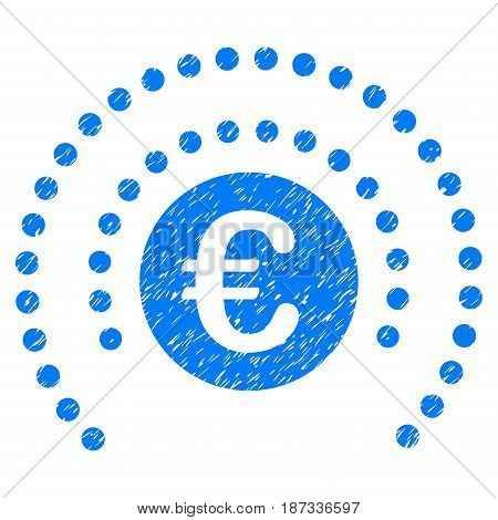 Grunge Euro Shield Sphere icon with grunge design and dirty texture. Unclean vector blue pictogram for rubber seal stamp imitations and watermarks. Draft sign symbol.