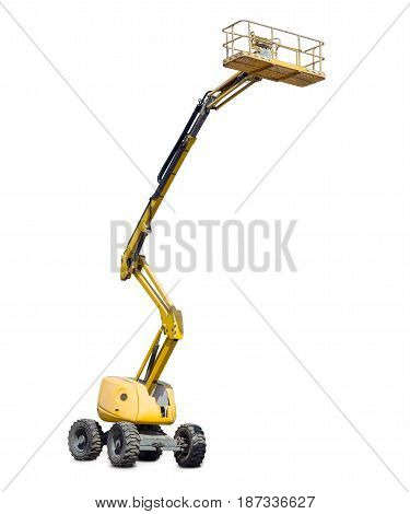 Yellow self propelled articulated wheeled articulated lift with telescoping boom and basket on a light background