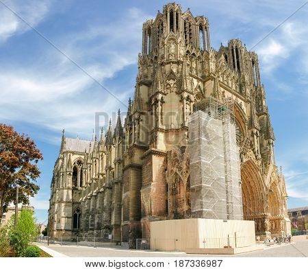 View from northwest of the Cathedral Notre-Dame de Reims built in the 13th century during the restoration work of a part of the main facade France