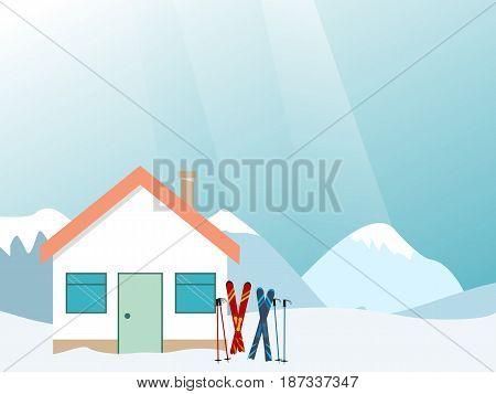 Mountain ski resort Vector illustration Landscape ski resort