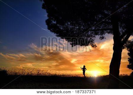 Summer sunset. Girl in the sun. Blue sky, backlight