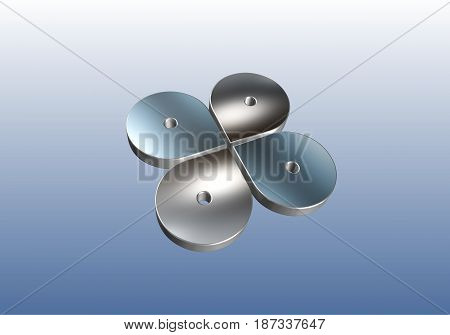 metal parts in quantities of four pieces in the composition in the form of a butterfly