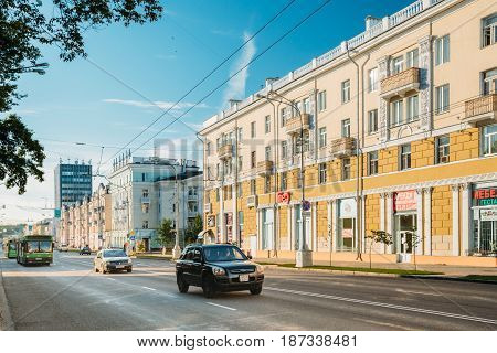 Gomel, Belarus - August 10, 2016: Traffic On The Lenin Avenue Street In Sunny Summer Day In Gomel, Belarus