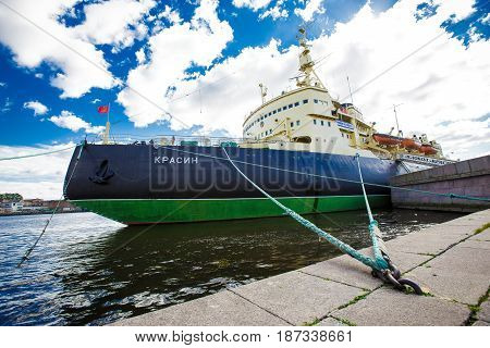 Icebreaker Krasin St. Petersburg on the Neva River now it is a Museum. 24.09.2016 Russia