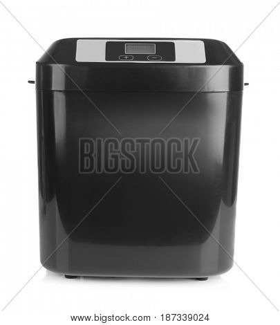Electrical bread maker on white background