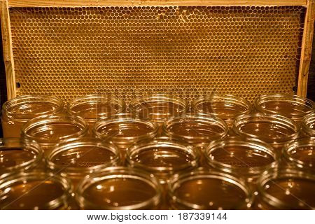 Golden yellow honey in glass jar on wooden board. Closeup. Copy space. comp frame empty textspace