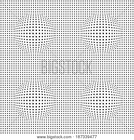 Optical illusion pattern. Vector illustration. White and black background