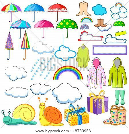 vector illustration of collection of monsoon and rainy day object including raincoat, umbrella, boots and cloud