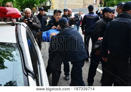 Kharkov, Ukraine - May 17, 2017: Police Officers Arrest Kharkiv Right-wing Activists Who Violated Th