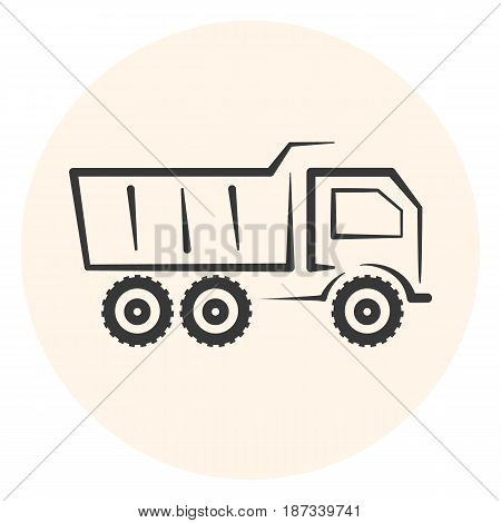 Outline dumper icon simple dump track icon transport symbol