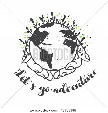 Inscription Hello adventure lettering. Vector illustration. Calligraphy for the print typography