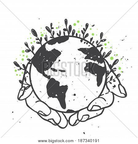Earth day concept. Save planet.  Vector illustration. World environment day