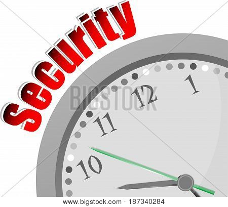 Text Security. Protection Concept . Color Word And Modern Clock On White