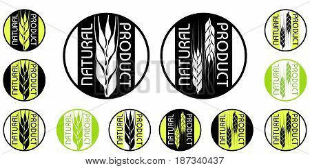 the set of isolated round emblems of natural products