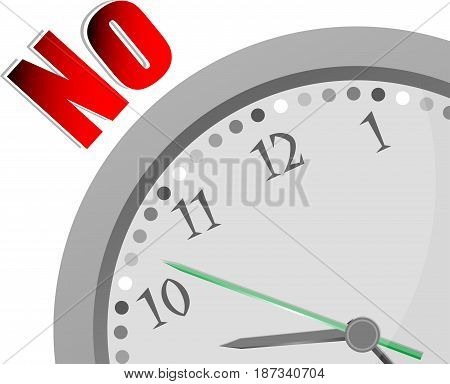 Text No. Education Concept . Color Word And Modern Clock On White