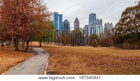 Panoramic view of the Oak Hill in the Piedmont Park and Midtown Atlanta behind it in autumn day USA
