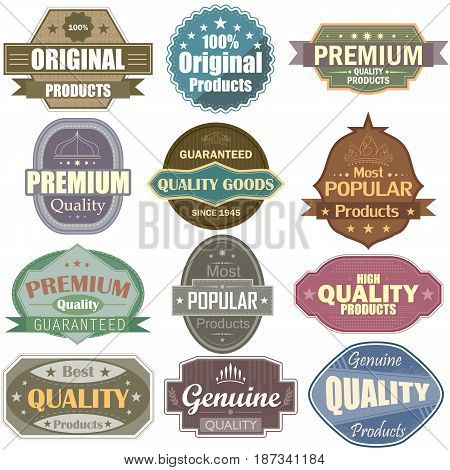 vector illustration of Premium Quality label tag sticker for Advertisement