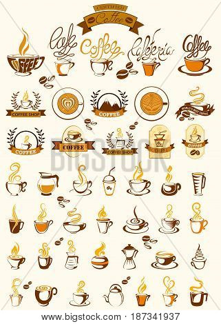 vector illustration of  Coffee label tag sticker for Advertisement
