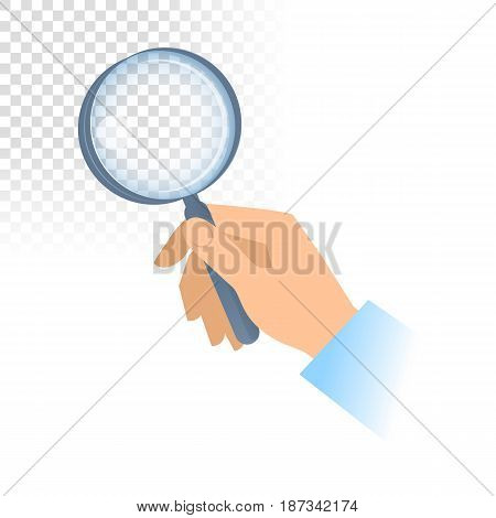 A human hand holds a transparent magnifying glass. Scientific discovery research analyzing examination looking and searching flat concept illustration. Vector design element isolated on white.