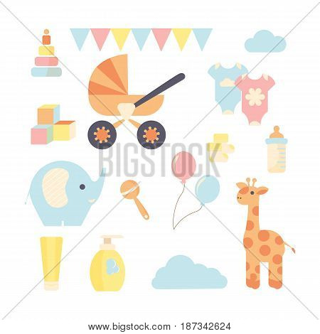 Colorful set of flat style icons related with baby. Multi gender baby shower set
