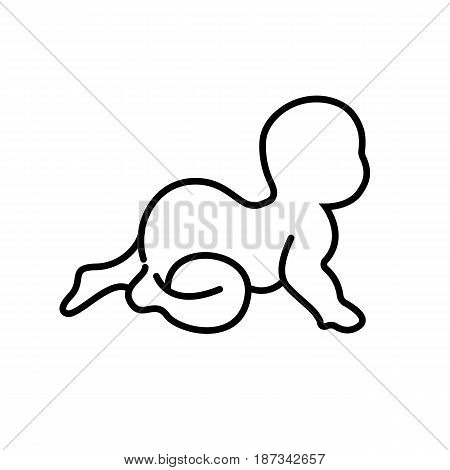 Simple logo of crawling baby. black and white