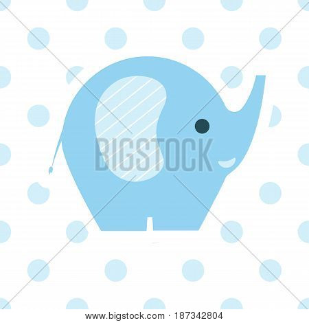Cute simple image of blue baby elephant flat style