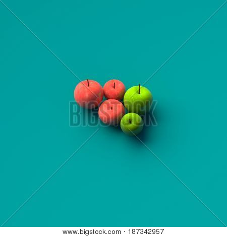 COLOR PHOTO OF 3D RENDERING OF RED AND GREEN APPLES ON PLAIN BACKGROUND