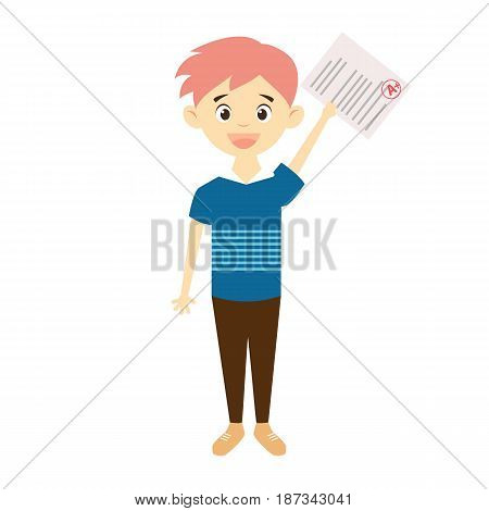 Happy boy holding test paper with good mark. Academic success concept