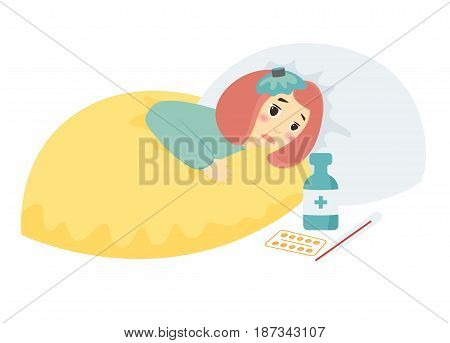 Cute sick girl with high fever laying in bed. Tablets bottle of medicine
