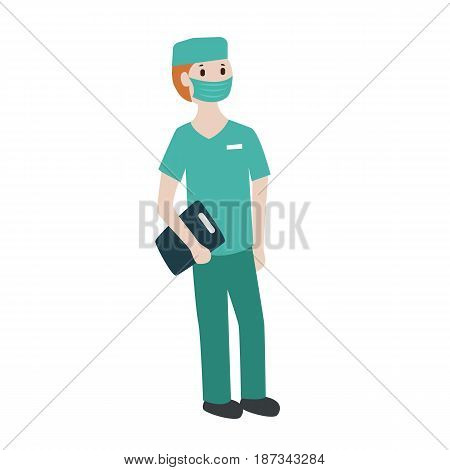 young male surgeon in face mask and hat.