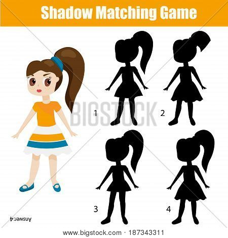 Shadow matching game for children. Find the right, correct shadow task for kids preschool and school age. Cute girl character
