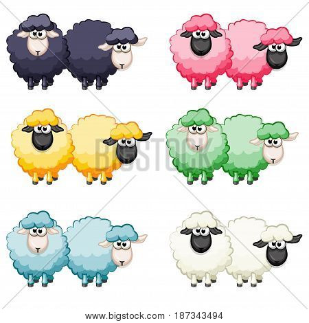 Cartoon cute funny colored sheep, vector animals