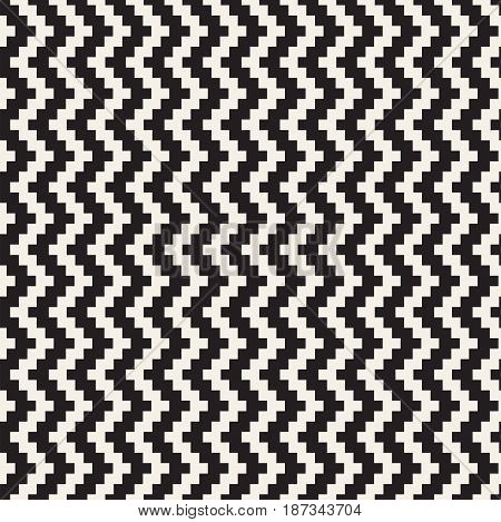 Repeatable geometric grid texture. Vector seamless mesh pattern. Monochrome zigzag edgy lines abstract background