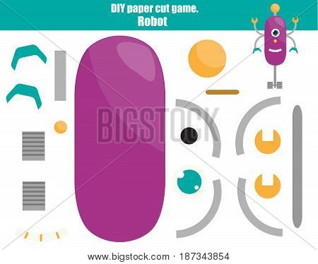 DIY children educational creative game. Make a robot with scissors and glue. Paprecut activity. Creative printable tutorial or kids.