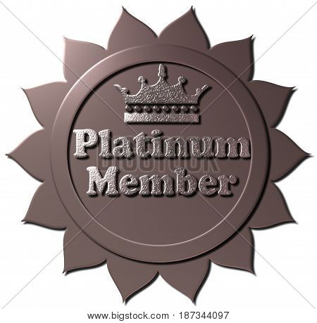 A 3D Platinum Member seal or icon. Metallic Platinum seal or button with crown and platinum color text.