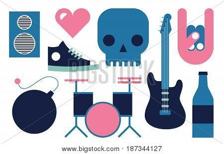 Vector flat illustration, icon set of Rock n Roll: speaker, heart, skull, guitar, hand, shoes bomb drum bottle