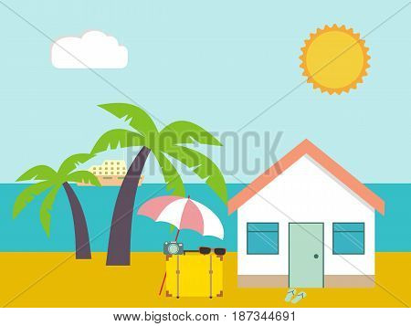 Summer beach. Beach house on palms and sea background. Tropic house for rent or living. Summer travel poster. Vacation in paradise concept. Vector