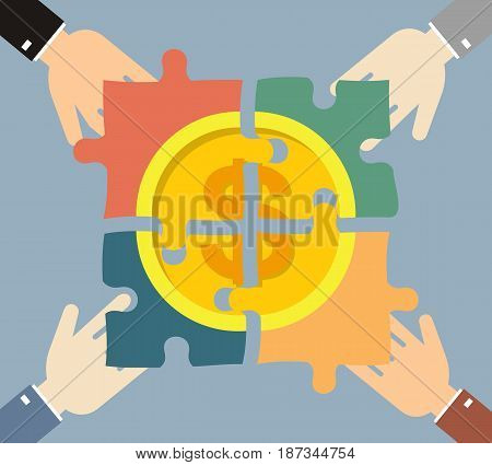 Investment money illustration. Four hands businessman folded gold coin consists of puzzles. Business finance concept. Vector illustration..