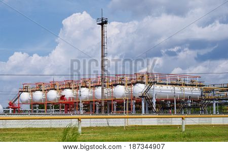 Gas terminal and blue sky on a clear day