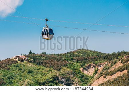 Aerial Lift Cableway In Tbilisi, Georgia. Blue Sunny Summer Day