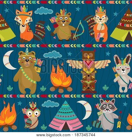 seamless pattern with tribal animals night - vector illustration, eps