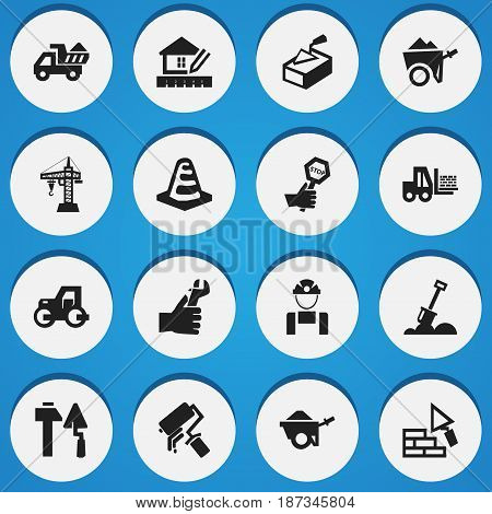 Set Of 16 Editable Construction Icons. Includes Symbols Such As Construction Tools, Handcart , Hands. Can Be Used For Web, Mobile, UI And Infographic Design.