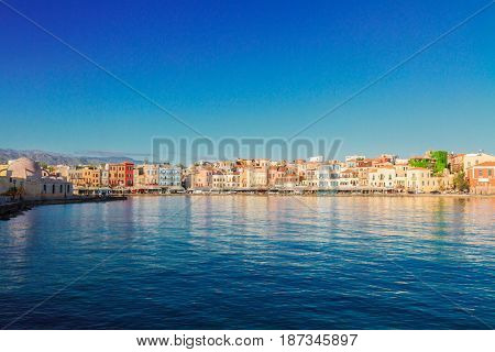 waterfront of Chania bay at sunny day, Crete island, Greece