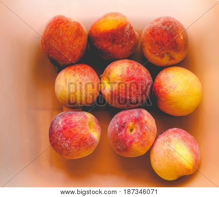 Many Peach Fruits, Faded Vintage Look