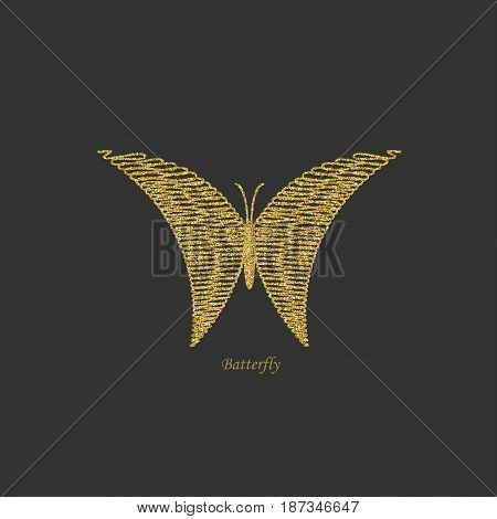 Golden butterfly. Item for logo. Decoration. Vector illustration.
