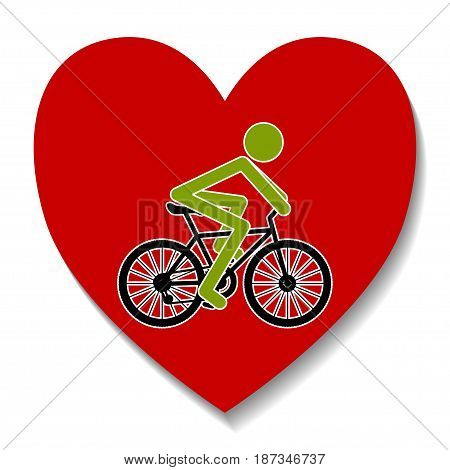 Illustration bike in the heart as a symbol of recreation.