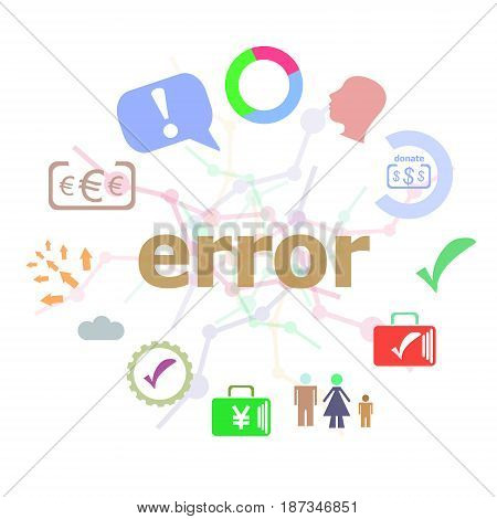 Text Error. Web Design Concept . Set Of Line Icons And Word Typography On Background. Creative Solut