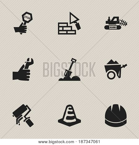 Set Of 9 Editable Building Icons. Includes Symbols Such As Hardhat , Handcart , Scrub. Can Be Used For Web, Mobile, UI And Infographic Design.