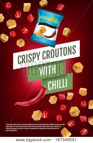 Crispy croutons ads. Vector realistic illustration of croutons with chilli. Vertical poster with product.